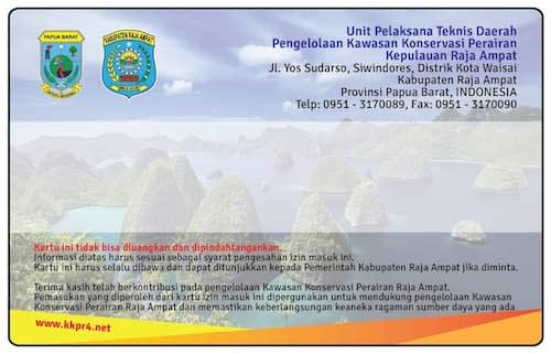 Raja Ampat Marine Park Entry Card Environmental Services Fee